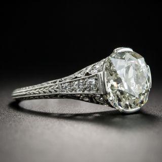 3.30 Carat Art Deco Platinum and Diamond Engagement Ring - GIA N SI2