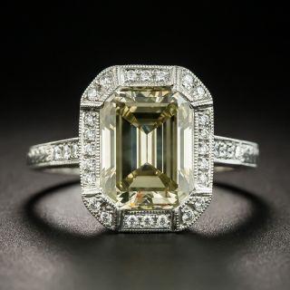 3.33 Ct. Natural Fancy Brownish Greenish Yellow Emerald-Cut Diamond Ring - 1