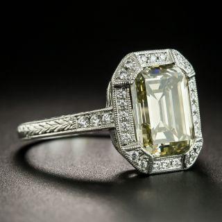 3.33 Carat Natural Fancy Brownish Greenish Yellow Emerald-Cut Diamond Ring