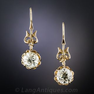 3.34 Carat Victorian Diamond Earrings - GIA - 1