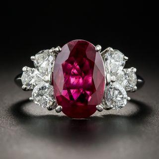 3.37 Carat Burma Ruby Platinum Diamond Ring (GIA) - 1