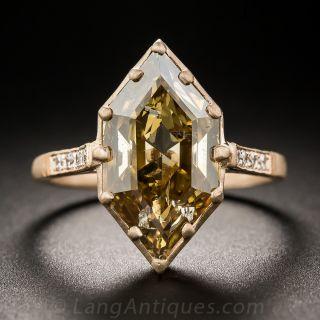 3.43 Carat Natural Brown Hexagonal Diamond Ring - 1