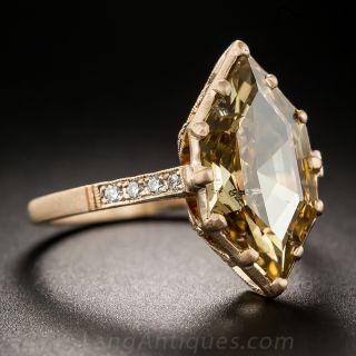 3.43 Carat Natural Brown Hexagonal Diamond Ring