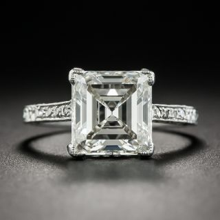 3.46 Carat Edwardian Carré (Square-Cut) Diamond Platinum Ring - GIA J VVS2 - 1