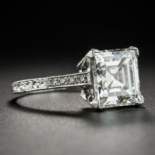 3.46 Carat Edwardian Carré (Square-Cut) Diamond Platinum Ring - GIA J VVS2