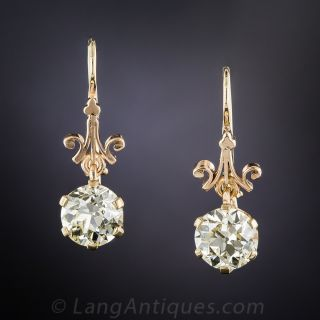 3.50 Carat Diamond Vintage Drop Earrings - GIA  - 2