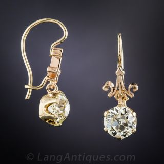 3.50 Carat Diamond Vintage Drop Earrings - GIA