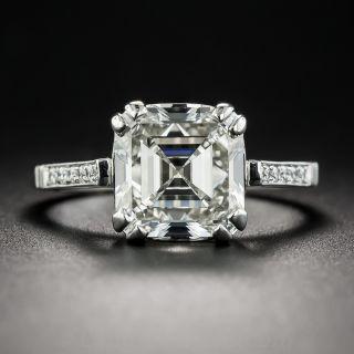 3.51 Carat Square Emerald-Cut Diamond Platinum Engagement Ring - GIA J VS2 - 1