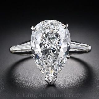 3.57 Carat G-SI1 Pear Shape Diamond Solitaire