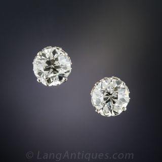 3.64 Carat European-Cut Diamond Stud Earrings