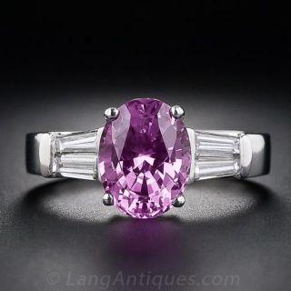 3.64 Carat Pink Sapphire and Diamond Ring - 1