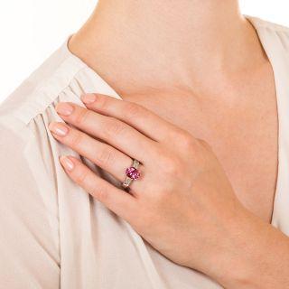 3.64 Carat Pink Sapphire and Diamond Ring