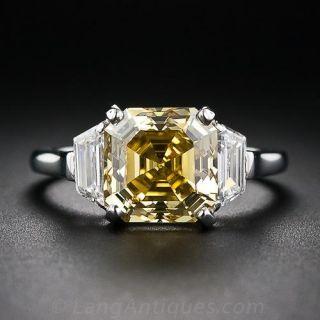 3.65 Carat Asscher-Cut Fancy Deep Orangy Yellow Diamond Ring