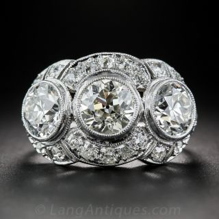 3.65  Carat Diamond and Platinum Art Deco Three-Stone Ring - 1