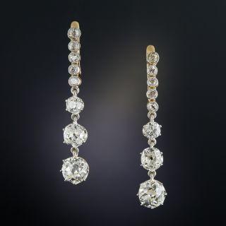 3.75 Carat Long Diamond Drop Earrings - 1