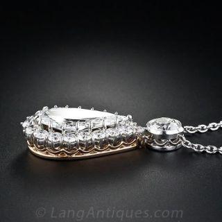 3.77 carat Old Mine Pear-Shaped Antique Diamond Drop Necklace