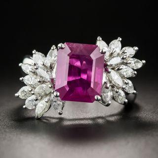 3.91 Carat Pink Burmese Sapphire Platinum and Diamond Ring - 1