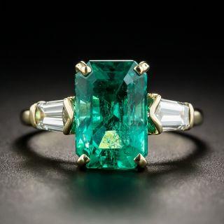 3.92 Carat Emerald and Diamond Ring - 1