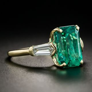 3.92 Carat Emerald and Diamond Ring