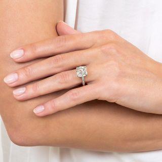 3.98 Carat Antique Cushion Diamond Ring