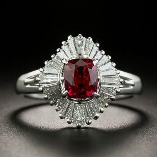 Estate 1.19 Carat Red Spinel and Baguette Diamond Ballerina Ring - 0