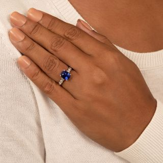 4.02 Carat Ceylon Sapphire Platinum Diamond Ring