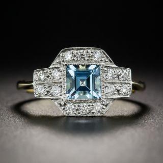 English Vintage Style Aquamarine and Diamond Ring - 6