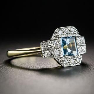 English Vintage Style Aquamarine and Diamond Ring