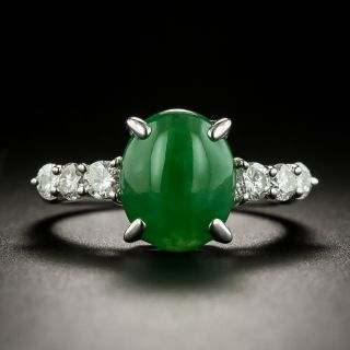 Estate Burmese Jade and Diamond Ring - 1