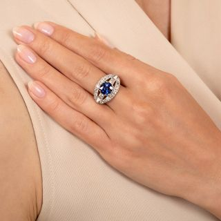 Late Art Deco 2.56 Carat Sapphire and Diamond Engagement Ring