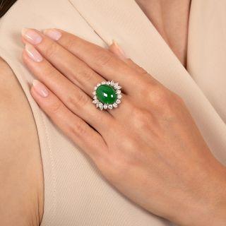 Fine Estate Jade and Diamond Ring - GIA