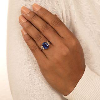 Estate 6.67 Carat No-Heat Ceylon Sapphire and Diamond Ring