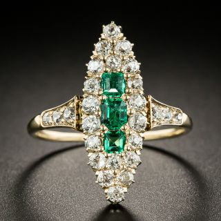 Victorian Emerald and Diamond Navette Ring - 1