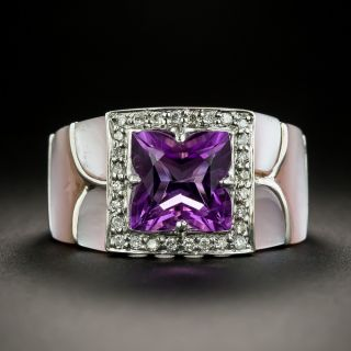 Estate Amethyst, Diamond and Mother of Pearl Ring - 1