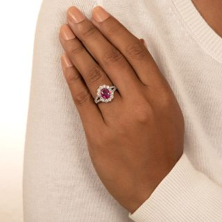 Estate 2.11 Carat No-Heat Ruby and Diamond Halo Ring - AIGS