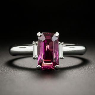 Estate Purplish Pink Sapphire and Diamond Ring - 1