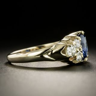 Early 1900s 1.23 Carat Ceylon Sapphire and Diamond Ring