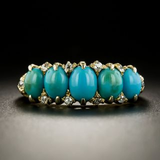 Victorian Turquoise and Diamond Five Stone Ring  - 2