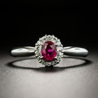 Petite Ruby and Diamond Halo Ring - 1