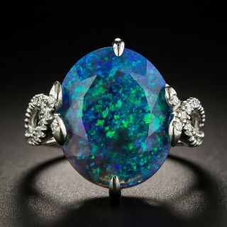 Faceted Black Opal and Diamond Ring  - 1