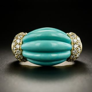 Carved Turquoise And Diamond Ring - 1