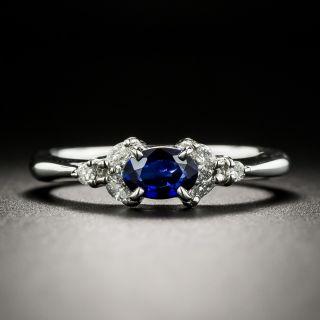 Petite Sapphire Platinum Diamond Ring - 1