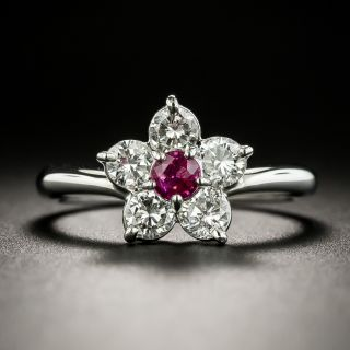 Estate Ruby and Diamond Flower Ring - 1