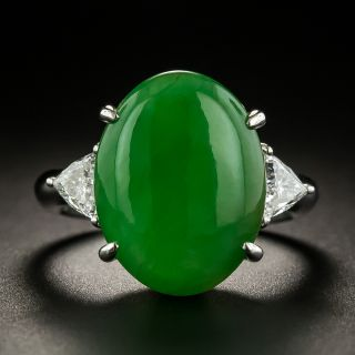Natural Burmese Jade and Trillion-Cut Diamond Ring - 1