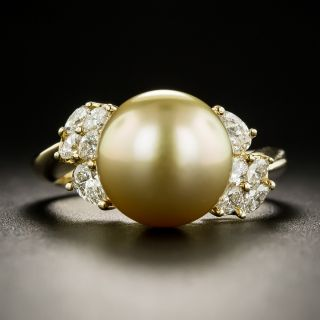 Estate Golden South Sea Pearl and Diamond Ring - 1