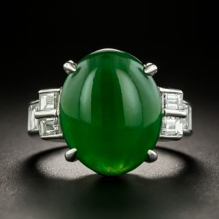 Estate Natural Jade and Diamond Ring - 2