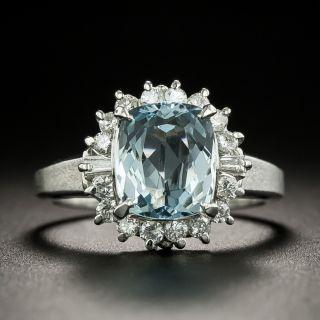 Petite Aquamarine and Diamond Halo Ring - 1