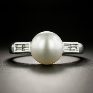Estate Cultured Pearl and Diamond Ring - 1