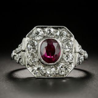 Edwardian 1.05 Carat Ruby and Diamond Ring - 1