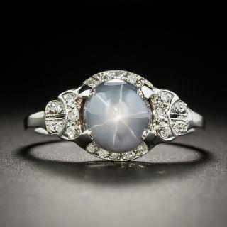 Art Deco Gray Star Sapphire and Diamond Ring - 1